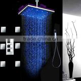hotel bathroom accessories 3 way thermostatic 304 stainless steel led rainfall shower set with 6 pcs showerhead jets