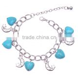 Vintage Fashion Jewelry Tibetan Sliver Plated with Heart and Moon Shaped Pendant Turquoise Bracelet for Women Gift