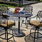 Elizabeth Cast Aluminum Powder Coated 6pc Outdoor Patio Swivel Bar Stools - Antique Bronze