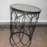 black steel glass top powder coated round coffee table