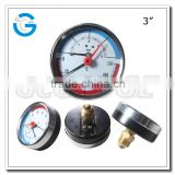 High quality 80mm black steel brass internal pressure and thermometer gauge with back connection