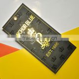 hang tags with golden foil pressing UV and golden metallic eyelet                                                                                                         Supplier's Choice