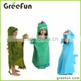 2016 Wholesale Clothing 100% Cotto with Animal Shape Dinosaur forg shark /Child Hooded Bath Towel, Baby Hooded Poncho