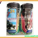 Bungee cord with Hook in Plastic Jar elastic cord with hooks
