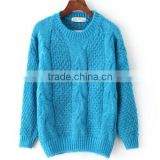 BGA15075 Ladies fashion thick winter pullover crew neck sweater knitting pattern free