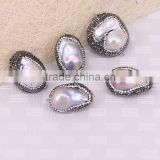 Crystal Pave Mother Of Pearl Beads, Baroque Pearls, Druzy Pearl Pave Connector stone Beads For Jewelry