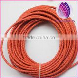 orange color 3.0mm braided real leather cord for bracelet