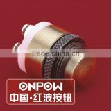 ONPOW 16mm Brass(Bronze-coloured) door bell push button switch (GQ16M-10) CE, RoHS