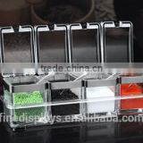 Acrylic Seasoning Box with 4 Serving Spoons, Spice Jar Set Condiment Cruet Bottle, Kitchen Supplies,Nice Design for Kitchen