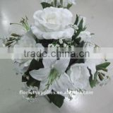 mix flower bush in pure white,rtificial flower bouquet for wedding ,silk cabbage rose ,rose bouquet