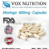 Moringa Oleifera 800 mg Supplement, 100k Bulk Capsules- Private Label Moringa Supplement