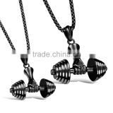 Gold/Black/Silver Color Fashion Barbell Necklace Sportsman Jewelry Stainless Steel Men Dumbbell Pendants Necklaces Jewelry