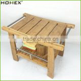 Bamboo Shower Bench with Shelf and Rubber Feet Homex BSCI/Factory