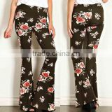Casual Clothes 95% POLYESTER 5% SPANDEX FLORAL PRINT PALAZZO KNIT PANTS Wide Leg Trousers Fashion