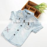R&H short sleeve breathable cotton boys PRINTED DENIM SHIRT