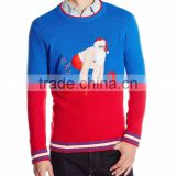 Men Red Blue Color Block Sweater Weightlifting Santa Claus Pattern Ugly Christmas Sweater Knitting Pattern s