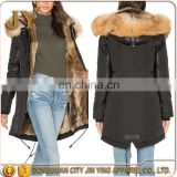 fur jacket lady central bottom slit design jacket cotton wool ladies fashion clothing with pu leather patch work
