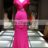 Hot fashion beaded jewelry evening dress Cap sleeve V neck dress chiffon long dresses