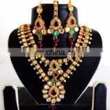 Indian ethnic imitation jewelry set - Wholesale wedding wear kundan necklace set - Bollywood style bridal jewelry set - Fashion