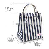Eco Friendly Reusable Thermal Foldable Lunch Bag Best Christmas Gift, Lunch Cooler Bag for Women/Men (Blue Stripes)