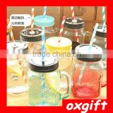 OXGIFT Wholesale 16oz mason jar with handle straw and metal lid /Clear Mason Jar Beverage Cups