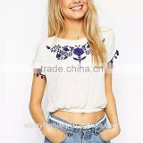 Fashion girl's blue floral Embroidery crop blouse sweet white short sleeve shirts casual slim cute short blouse B035