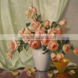 Wedding decorations wholesale china modern abstract paintings rose flower canvas flower oil painting for wedding wall decoration