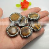 LFD-0072B Wholesale Natural Round Tiger's-eye Druzy Beads With Crystal Rhinestone Paved Loose Bead For Bracelet / Necklace