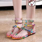 Low moq shoes manufacturer rainbow flat sandals three ankle straps studded ladies flat sandals