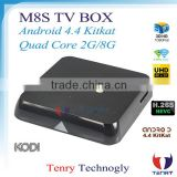 2015 Newest M8S TV Box With Amlogic S812 2GB/8GB Dual Wifi 2.4G/5G 4Kx2K Android4.4 OS Customized Kodi Skin add ons for M8S