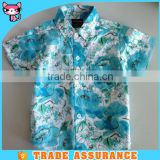 short sleeve shirts kid garment fashion Hawaiian Cotten collar children Flower Printing Shirt