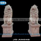red natural travertine western palying lion statue
