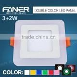 new arrival two colors blue/red/green/warm white (2700k)square slim 3+2w panel led light with BIS