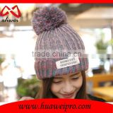 Custom Cheap Winter Beanie Hats Womem's with a Ball for Girl Chunky Knit Warm 100% Cotton Beanie Hat