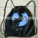 black polyester drawstring shopping bags with horse design for promotion ---design 1                                                                         Quality Choice