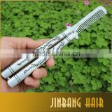 Wholesales carved dragon Sliver Comb Multi function Stainless Steel Trainer Tool Butterfly Comb