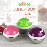 Creative ball shaped design protable stailess steel thermos lunch box/tiffin box