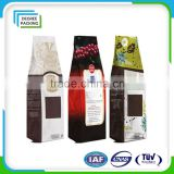 Plastic matt stand up pouch side guesst with degassing valve/coffee bean packaging bag/snack food bag/dried fruit bag