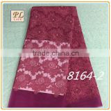 2015 latest best selling high quality textile embroidery mesh lace with pearl for wedding dress
