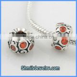 Wholesale Orange CZ Rhinestone Sterling Silver Rondelle Beads BCZ18B