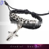 2013 Hot Sale Fashion Cheap Leather Bracelets Handmade Cross Bracelet With Cross For Yong People