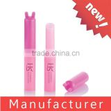 Wholesale cute pink rabbit shaped plastic lip balm tube / case / container / packaging / packing