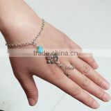 Womens Gold Slave Chain Finger Ring Bangle Hand Harness auspicious signTurquoise Beads Bracelet