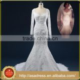 ASAM-03 Real Photos See Through Lace Appliques Long Sleeves Lace-up Back Mermaid Wedding Dresses with Long Train