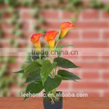 PU red orange artificial Calla Lily mini plant