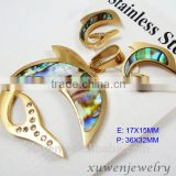 fish shape abalone shell stainless steel gold plated fashion jewelry sets