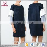 Navy blue cotton and viegin wool blend strip dress Casual playsuit Layered sleeve women dress                                                                                                         Supplier's Choice