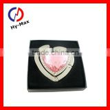 Heart shaped pink acrylic stone bag hanger/christmas gift for lady
