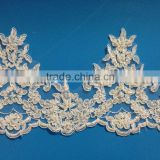 fashional lace trim with cording and beading for wedding dress