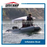 inflatable boat bimini top and boat with boarding ladders beach rollers
